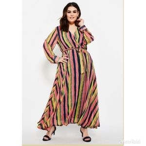 Ashley Stewart Stripped Wrap Maxi Dress Sz.18